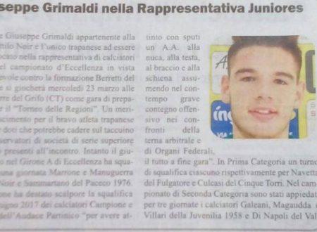Grimaldi fra i convocati Juniores Regionale
