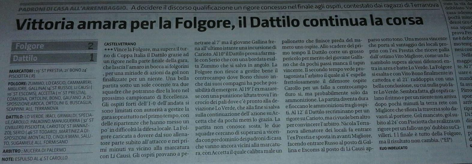 articolo di stampa - il Dattilo coninua la corsa