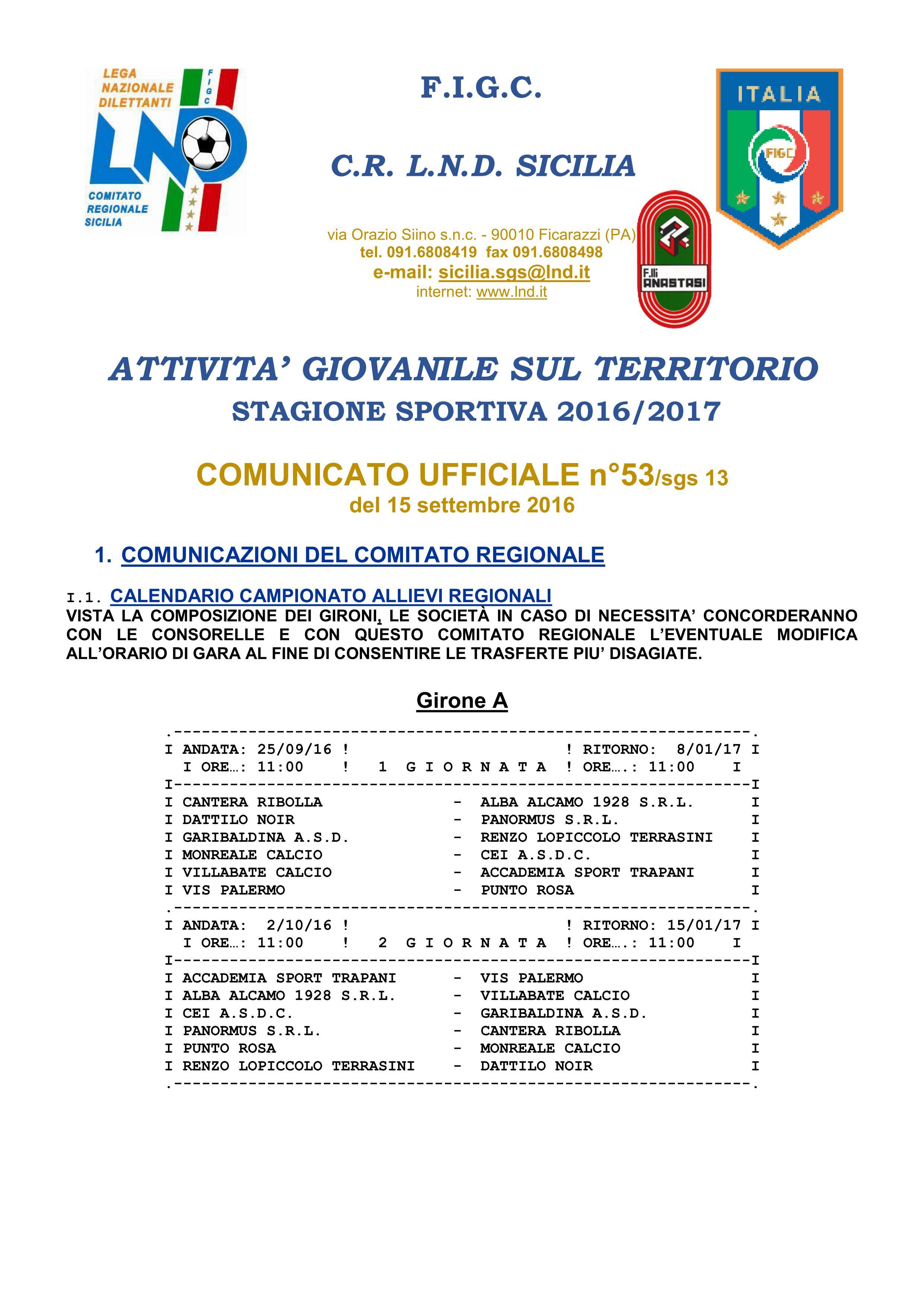 calendario allievi regionali 16-17 - 1