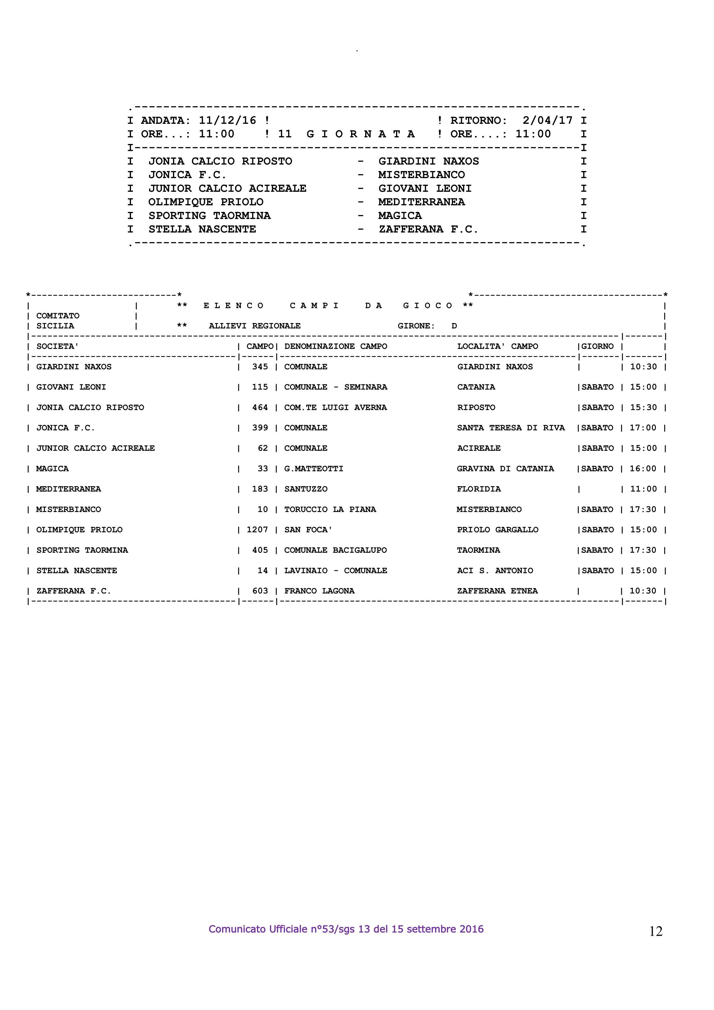 calendario allievi regionali 16-17 – 12