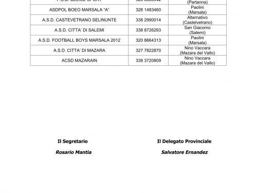 Calendario Esordienti A 11