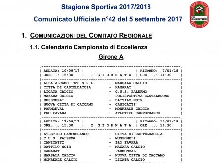Calendario Eccellenza 17/18