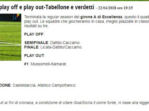 Eccellenza A: Griglia play off e play out