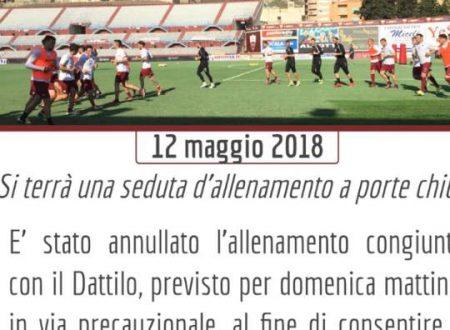 Annullato allenamento congiunto Dattilo Noir – Trapani Calcio