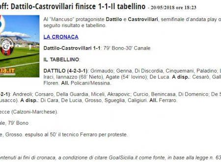 Finisce  1 a 1 Dattilo Noir vs Castrovillari