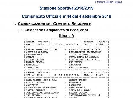 Calendario Eccellenza Girone A