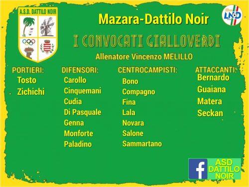 I 2o convocati Gialloverdi Mazzara Dattilo Noir