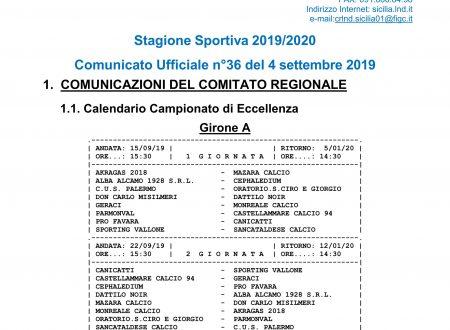 Calendario Eccellenza Gr A – 2019/20