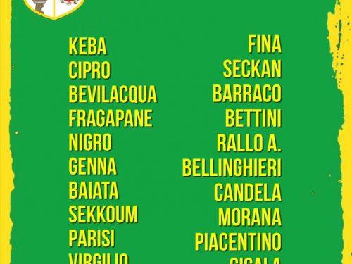 I 22 convocati gialloverdi Alcamo Vs Dattilo Noir