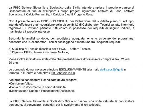 BANDO PER COLLABORATORI TECNICI FIGC SGS