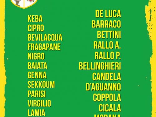 I convocati gara CUS Palermo VS Dattilo Noir