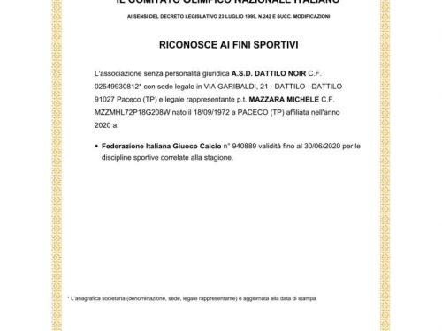 Attestazione iscrizione registro CONI 2020