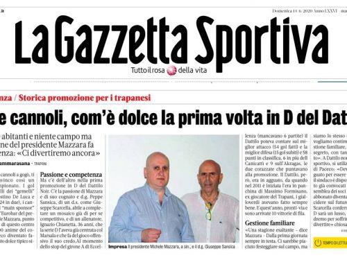 Articolo di stampa – Gol e Cannoli, com'è dolce la prima volta in D del Dattilo