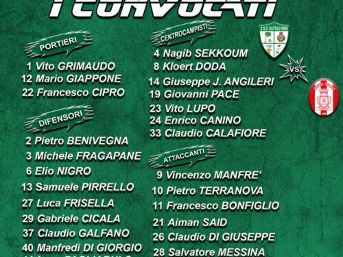 Sono 25 i calciatori convocati per l'incontro di domani da mister Chianetta, con la novità tra essi del centrocampista Salvatore…
